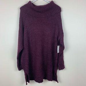 NWT Cowl Neck Sweater Maroon Size 0X (14W)